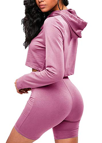 Sofkiny Women's Two-Piece Hoodie Crop Top with Biker Shorts Set Long Sleeve Drawstring Tracksuits Dark Pink