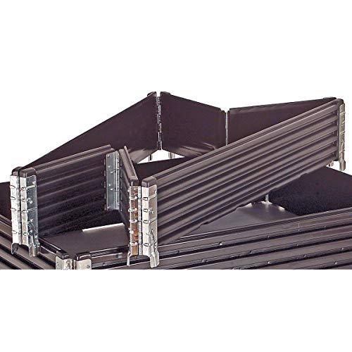 KIGA Kunststoffaufsatzrahmen, VE 2 Stk - für Euro-Palette 1200 x 800 mm - klappbar, mit 6 Scharnieren - Aufsatzrahmen Aufsatzrahmen aus Kunststoff Aufsatzrahmen für Paletten Kunststoffaufsatzrahmen Kunststoffpalettenaufsatzrahmen Paletten-Aufsatzrahmen