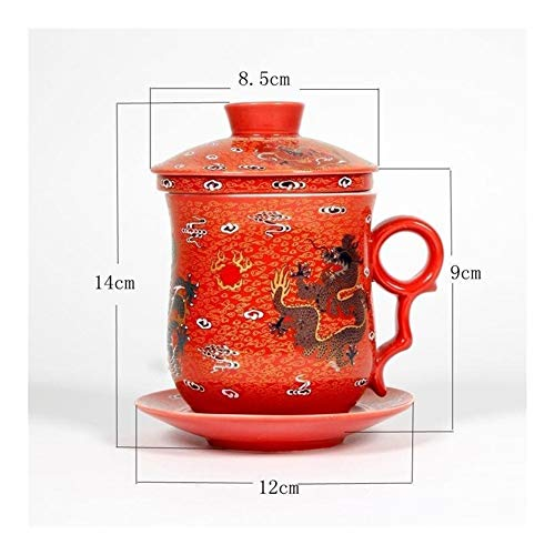 HXSD Jingdezhen ceramic tea set blue and white porcelain four-piece set with lid filter cup 340ml Chinese dragon ceramic tea cup set (Color : Deep Blue)