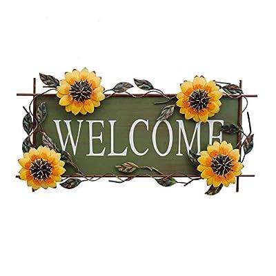 "Metal Hanging Sunflower Welcome Wall Art Decorative Sign 17""X10"" Front Door Wreaths Kitchen Bathroom Patio Garden Outdoor Sunflower Decoration"