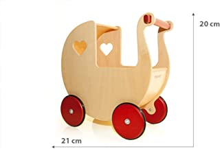 Moover® Miniature Doll Pram, Natural Wood – Fits Very Small Dolls up to 7