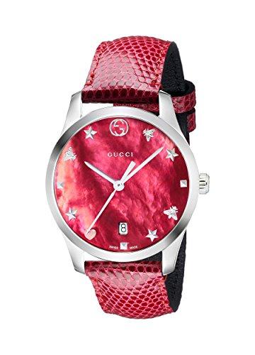 Gucci Damen Datum klassisch Quarz Uhr mit Leder Armband YA1264041