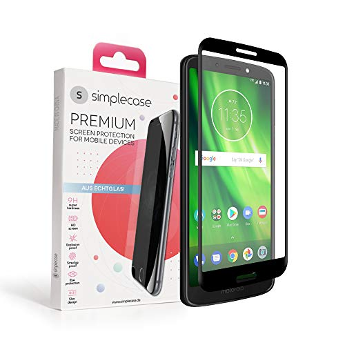 Simplecase Panzerglas passend zu Motorola Moto G6 Plus , FULL SCREEN Premium Displayschutz , 100% Abdeckung , Optimaler Schutz , Extra Härtegrad 9H , Schwarz - 1 Stück
