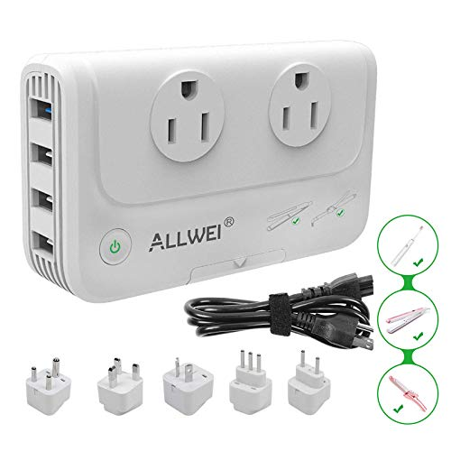 ALLWEI International Travel Adapter 220V to 110V Step Down Power...