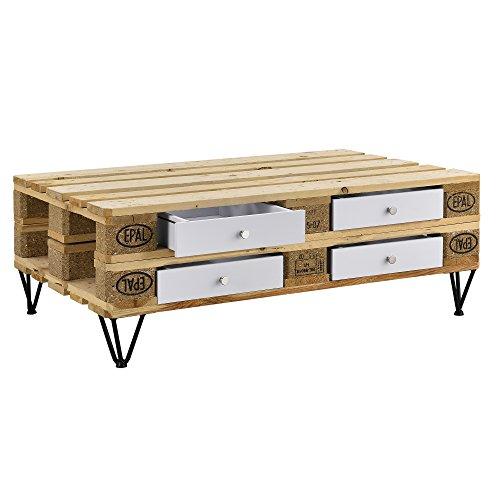 [en.casa] 4er Set Schubladen für Europaletten Weiß Perfekt Integrierbar mit Führungsschienen und Befestigung Palettenmöbel