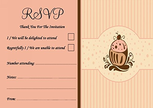 Chocolade Cupcake Vintage Thee Gepersonaliseerde Bruiloft of Partij RSVP Kaarten 200 RSVP Cards BRON