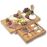 Dimono® lujo tabla de quesos con 3 cuchillos de queso; Juego de tabla para cortar queso de madera de bambú con cubertería de queso para servir, disfrutar y experimentar
