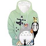 Aopostall Unisex Realistic 3D Print Cartoon Totoro Hoodie Big Pockets Drawstring Anime Pullover Hooded Sweatshirt