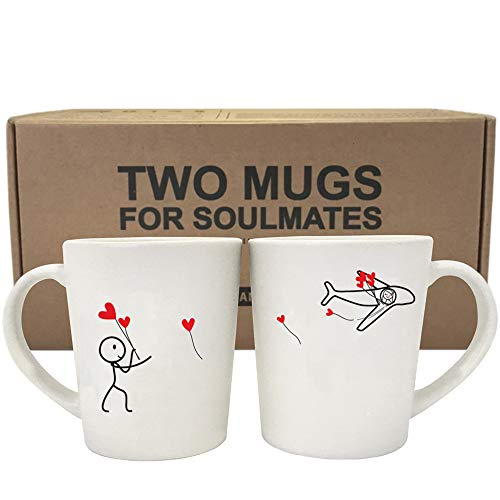BOLDLOFT No Matter The Miles His and Hers Coffee Mugs- Long Distance Relationships Gifts, Long Distance Mugs, LDR Gifts for Army Girlfriend, Military Wife, Army Wife Gifts, Thinking of You Gifts