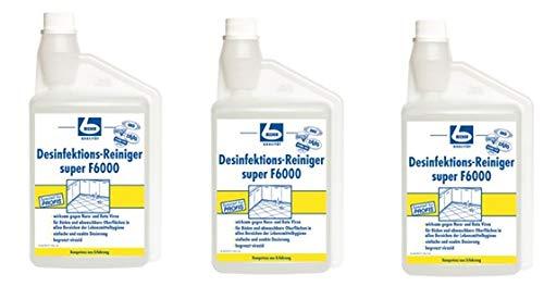 3x DR. BECHER Desinfektionsreiniger super F6000 | in 1L Dosierflasche | Desinfektionsmittel für alle abwaschbaren Oberflächen | plus Gratis Thank You Aufkleber