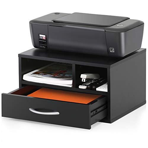 FITUEYES Soporte para Impresora Madero Negro con 2 Compartimentos 1 Cajón Organizador de Escritorio para Oficina Casa 40x30x22cm DO304002WB
