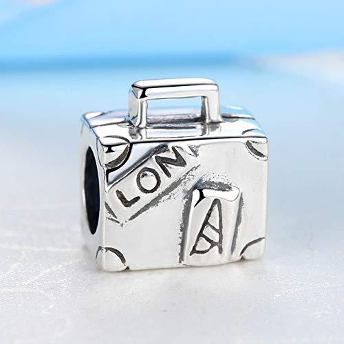 LFDHG Original 925 Sterling Silber Perlen Charm Fit Armbänder Love Travel Palm Charms Frauen DIY Schmuck Koffer 1