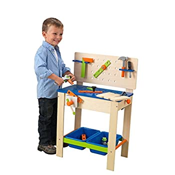 KidKraft Deluxe Wooden Workbench Toy with Four Play Tools Rotating Pretend Buzz Saw and Storage Bins Gift for Ages 3+