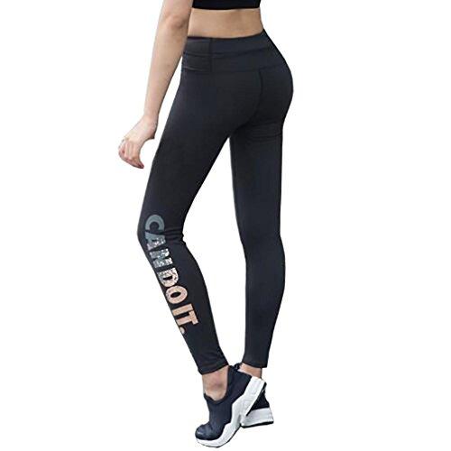 Sport Leggings Damen,Dasongff Damen Yogahosen Skinny Leggings High Waist Elastic Yoga Strumpfhose Fitness Sports Capri Pants Jogginghose Laufhose (L, Schwarz)