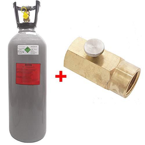 10 kg CO2 Steigrohr Flasche + Sodastream Fülladapter - gefüllt mit Lebensmittel Kohlendioxid/Kohlensäure - Fabrikneue Eigentumsflasche Made in Germany - von Gase Dopp - hergestellt in Deutschland