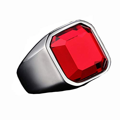 HIJONES Sencillo Pulido Anillo de Piedras Preciosas Rojo para Hombre Acero Inoxidable con Zirconia Cúbica Cuadrado Mate Plata Tamaño 26
