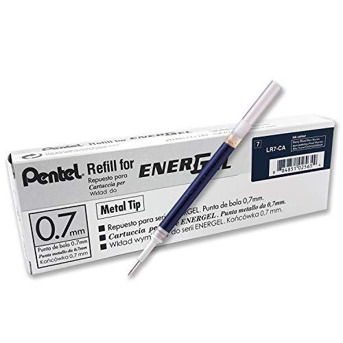 PENVO|#Pentel LR7 Recharges pour Roller Energel Pentel BL57/77/107/117/407/TRL Bleu nuit - Lot de 12