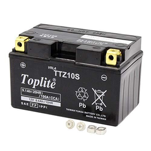 Toplite 台湾ユアサ TTZ10S バイク用耐震 バッテリー AGM シールド型 液入り充電済み YTZ10S互換品 台湾YUASA 第2ブランド