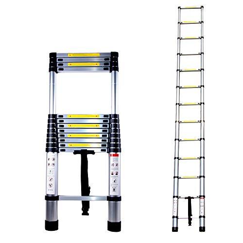 Escalera telescópica, multifuncional, escalera telescópica de bambú de aleación de aluminio, con certificado EN131 (3,2 m)