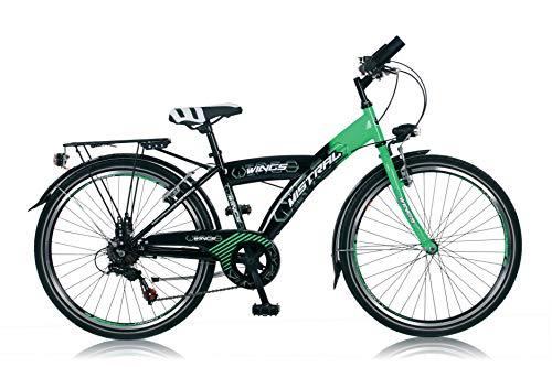 "24\"" 24 Zoll Kinder City Jungen Jugend Mädchen Fahrrad Bike Rad KINDERFAHRRAD CITYFAHRRAD Rad Bike Unisex Mistral Schwarz Grün"