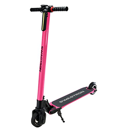 Swagtron Swagger High Speed Adult Electric Scooter; Ultra-Lightweight Carbon Fiber; Easy Fold-n-Carry Design (Pink)