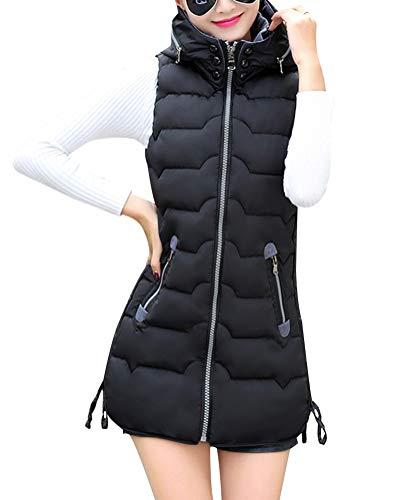 Damen Weste Lang Mantel Outwear Ärmellose mit Kapuze Warm Steppweste Wintermantel Vest