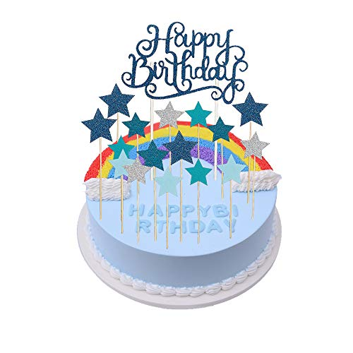 Kuchendeko födelsedag pojke set, blå glitter tårtdekorationko grattis på födelsedagen, glitter stjärnor tårtunderlägg cupcake toppplugg tårtfäste dekoration för 1,2,5 år baby barn pojkar pojkar