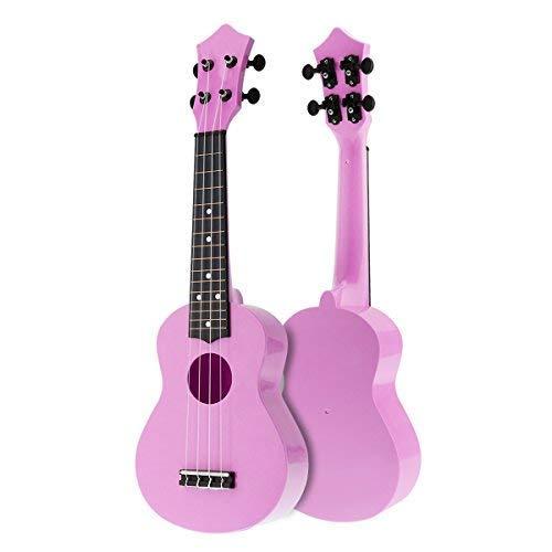 OriGlam Guitarra para principiantes de ukelele soprano de 21 pulgadas, guitarra hawaiana para niños, ukelele de juguete, guitarra acústica para principiantes, Hawaii para niños, color rosa