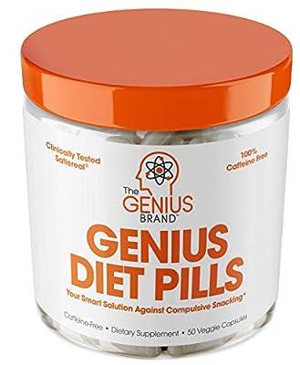 Genius Diet Pills ? The Smart Appetite Suppressant That Works Fast for Safe Weight Loss, Natural 5-Htp & Saffron Supplement Proven for Women & Men ? Cortisol Manger + Thyroid Support, 50 Veggie Caps