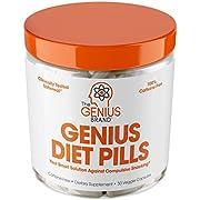 Genius Diet Pills – The Smart Appetite Suppressant That Works Fast for Safe Weight Loss, Natural 5-Htp & Saffron Supplement Proven for Women & Men – Cortisol Manger + Thyroid Support, 50 Veggie Caps