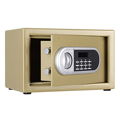 VIY Caja Fuerte de empotrar electrónica con pomo, 350 x 250 x 250 mm,Oro