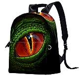 Mochila para portátil de reptil, diseño de ojo de serpiente, con múltiples bolsillos, para hombres, mujeres, niños y niñas