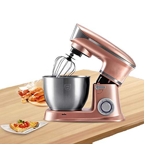 QFXFL Mezclador de pie de oro rosa de 1300 W, 6 velocidades, 5 cuartos de galón, mezclador eléctrico de cocina con cabezal inclinable con ganchos de masa, batidora, batidor y protector de vertedor