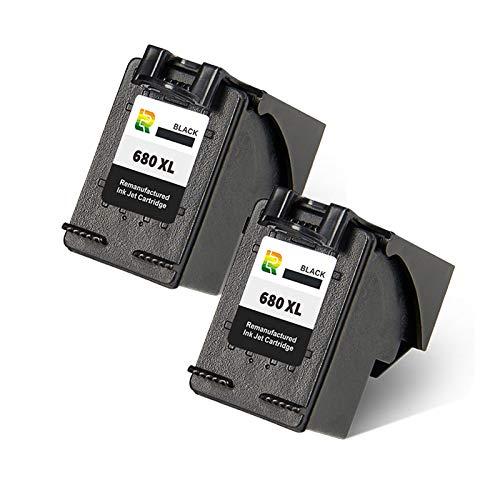 Cartuchos de tinta 680XL, de alto rendimiento, compatibles con impresoras de inyección de tinta HP Deskjet 3638 3838 1118 2138 3636 4538 4678 Reemplazo para negro y negro x2