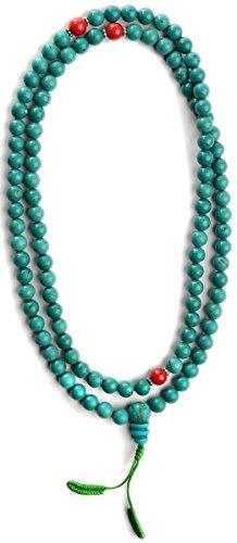 Mala aus Türkis mit rotem Jaspis - buddhistische Gebetskette mit 8 mm Perlen 3er Set