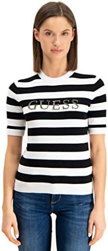 Guess Camiseta Rayas Manga Corta Mujer Logotipo
