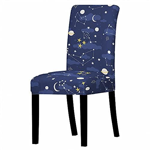 QPCGRA Fundas para Sillas de Comedor Fundas Elásticas Chair Covers para Sillas Muy Fácil de Limpiar Duradera 4 Piezas Planeta Estrellado Blanco Amarillo Azul De Dibujos Animados