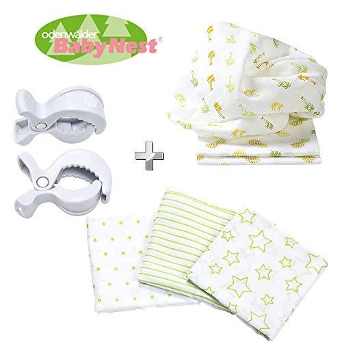Odenwälder BabyNest stoffen luiers + 2 luierclips gratis // dubbele luiers // spuugdoek // 6-pack sterren uniseks // Praktische afmeting 80 x 80 cm // Premium kwaliteit