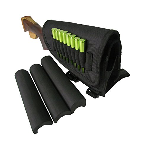 TOURBON Hunting Shooting Rifle Buttstock Cheek Rest Pad with Shell Holder