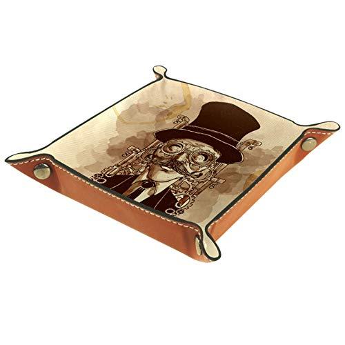 Handbemaltes Steampunk-Mann-Leder-Schmuckkästchen Aufbewahrung für Schlüssel, Telefon, Münzen, Uhren, Schmuck, Organizer, Catchall Valet Tidy Trays