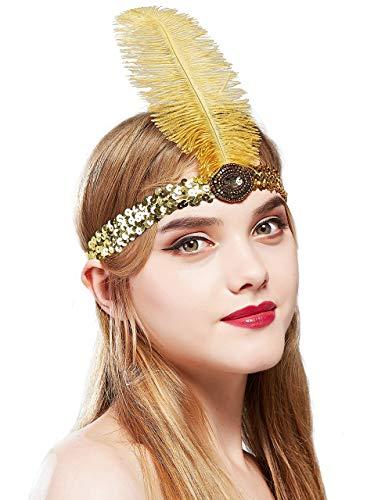 Coucoland Feather Hoofdband 1920s Sequined Hoofdstuk Struisvogel Veer Showgirl Hoofdband met Crystal Great Gatsby Kostuum Accessoires Roaring 20's Accessoires Goud