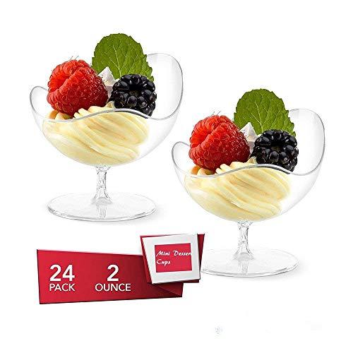 KIW 24 Pcs/set Disposable Footed Glass Dessert Dishes Bowls - Mini Clear Tasting Sample Shot Glasses Plastic Cups, 2 oz