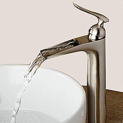 SPRINGHUA Plata Moderno baño Grifo del Fregadero - Cascada en níquel Cepillado manija de un Grifo Hermoso práctica
