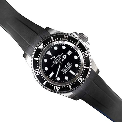 RUBBERB ロレックス ディープシー(Ref.126660)専用ラバーベルト【ブラック×ブルー】【ROLEXバックルを使用】※時計、バックルは付属しません(Watch is not included) (【XS】 6時側5駒/12時側5駒) [並行輸入