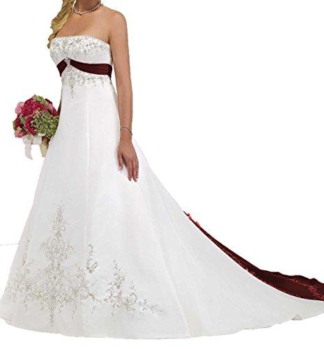 O.D.W.Satén sin tirantes, bordado en A, corsé de boda vestidos vintage de novia
