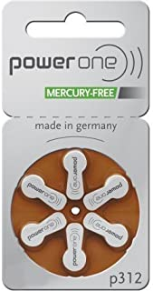 PowerOne Mercury Free Hearing Aid Batteries Size 312 - Pack of 120 + Free Battery Caddy