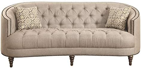 Avonlea Sofa with Button Tufting and Nailhead Trim Beige product image