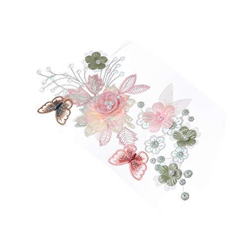 SOIMISS Blumen Kleidung Applikation 3D Gestickte Blumen Patch Perle Tüll Blumen Patch für Kleidung Hochzeitskleid Spitze Stoff Aufkleber DIY Dekorationen Grün