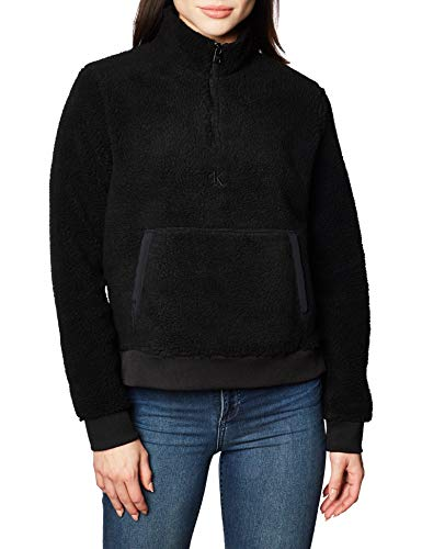 Calvin Klein Jeans Damen Sherpa Mock Neck Zip Pullover, Ck Black, L