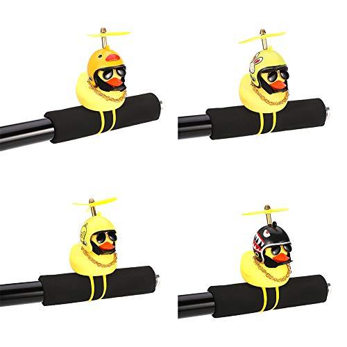 Faddy-1 Set mit 4 Hupe für Fahrrad, niedliches Entenfahrrad, aus Silikon, lustig, mit flexiblem Gummiband, Dekoration für Kinderwagen, Auto, Fahrradgriff, Motorradhelm